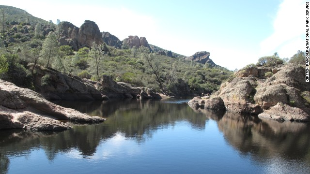Ranger Kirsten Randolph's other favorite national park is Pinnacles National Park. The Bear Gulch Reservoir along the Bear Gulch Cave Trail is a prime spot.