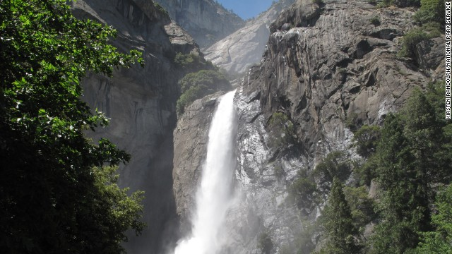 Hikers on the Lower Yosemite Fall Trail can enjoy this view of Lower Yosemite Falls from the trail's footbridge.