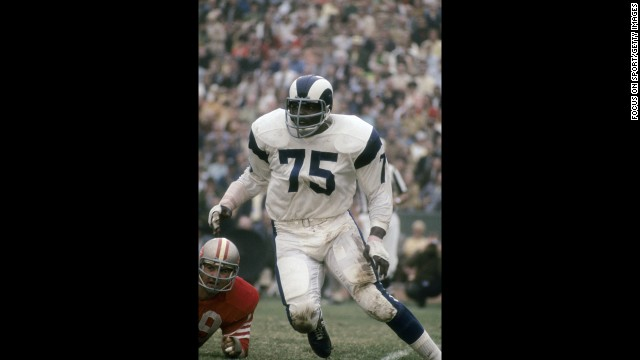 "Along with Rosey Grier, Lamar Lundy and Merlin Olsen, Jones formed one of the best lines of all time: the Fearsome Four. Rams fans nicknamed him ""Secretary of Defense."" And in 1999, Sports Illustrated named him the ""Defensive End of the Century."""