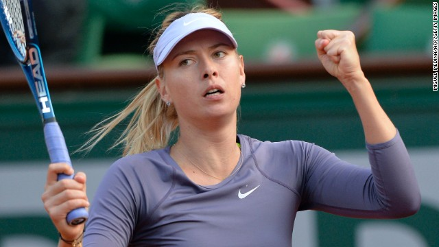 Russia's Maria Sharapova celebrates her victory over USA's Sloane Stephens at the end of their round of sixteen match on June 3. Sharapova defeated Stephens 6-4, 6-3.