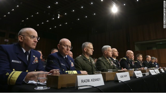 Military leaders testify before the Senate Armed Services Cmte. on a bill regarding sexual assaults in the military on June 4, 2013.