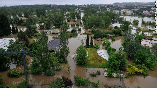 An aerial view shows the flooded Prague Zoo on June 4 in the Czech Republic.