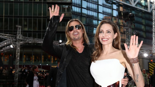 Angelina Jolie attends a June 2013 premiere of her fiance Brad Pitt's movie,