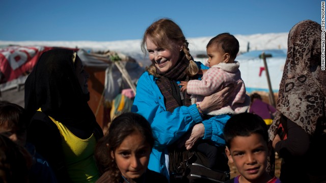 UNICEF Goodwill Ambassador Mia Farrow met with Syrian refugees in January 2013.