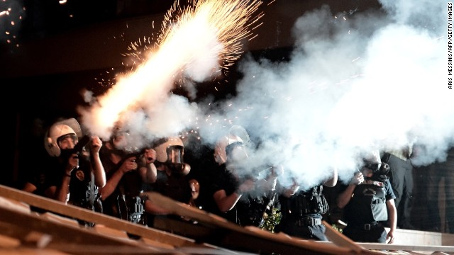 Riot police fire tear gas at demonstrators in Istanbul on June 4.