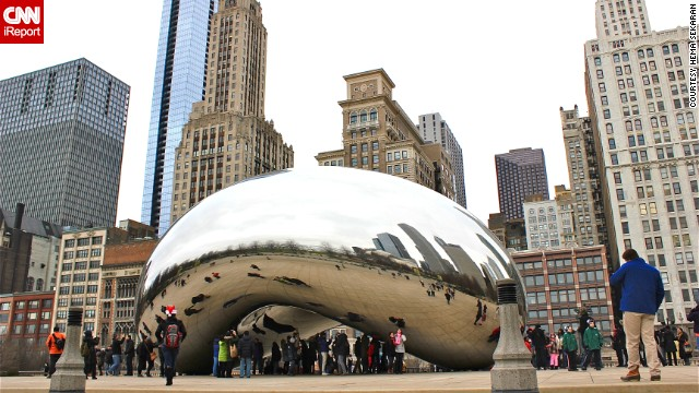"Cloud Gate, affectionately known as ""the bean,"" sits in Chicago's Millennium Park. See more photos of the city's landmarks on CNN iReport."