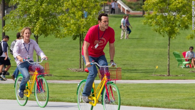 "This scene with Wilson, left, and Vaughn reflects Google's famous bicycle culture. The company keeps some 1,300 bikes at its Mountain View campus -- about one for every five employees -- including multicolored models dubbed ""clown"" bikes."