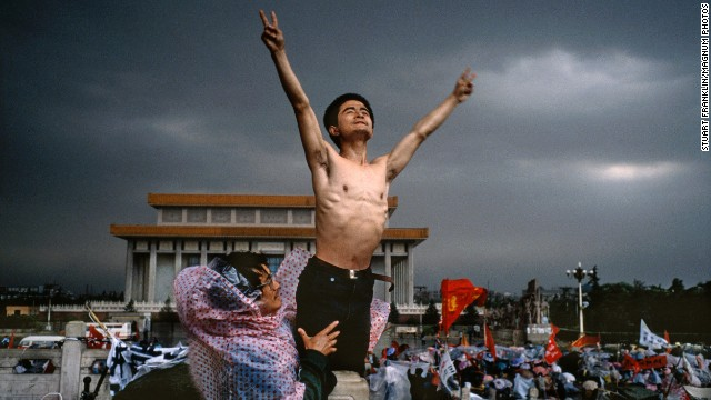 Young Chinese demonstrators protest official corruption and urge democracy in Tiananmen Square in Beijing in 1989.