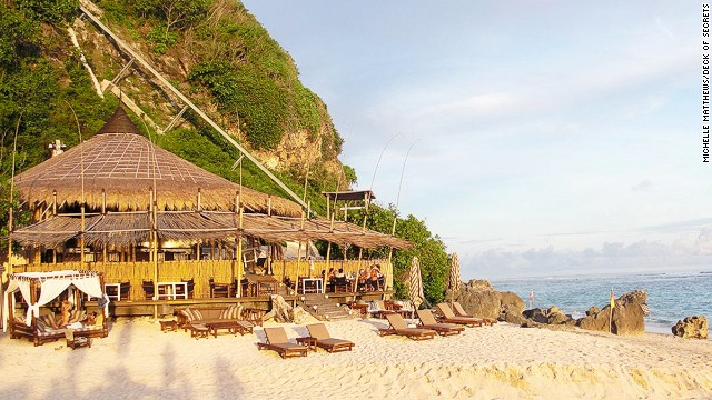 The only access to this beach beauty, number 42, is via a private inclinator, which transports guests up and down 100 meters of sheer limestone cliff.