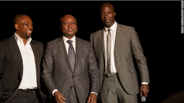 Ozwald Boateng co-founded the Made in Africa Foundation with Kola Aluko (L), to help fund large-scale infrastructure projects on the continent. <!-- --> </br>They are pictured here with Donald Kaberuka, President of the African Development Bank and the first recipient of the Made in Africa Special Recognition Award.