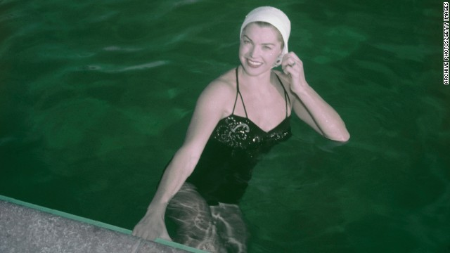 Williams poses in the pool circa 1950.