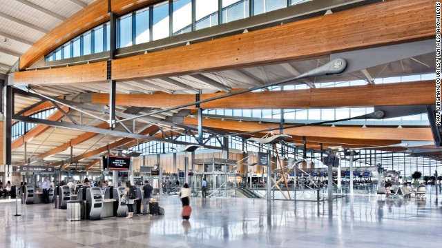 Goldebrger likes Fentress Architects' use of wooden trusses, glass and natural light in their design of the Raleigh-Durham airport's Terminal 2.
