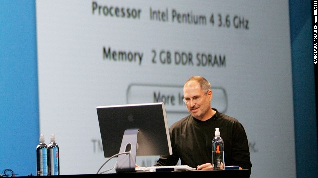 Jobs opens the Apple Worldwide Developers conference in June 2005 while using a Mac G5 with an Intel processing chip. In the presentation Jobs announces that Apple will be switching from IBM to Intel for its processing chip.