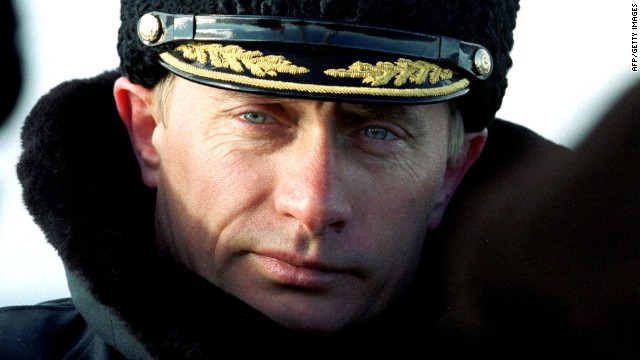 President-elect Putin watches the tactical exercises of Russia's Northern Fleet in the Barentsevo Sea on April 6, 2000. He has been at the helm during a decade of Russian economic growth fueled by natural resources of gas and oil.