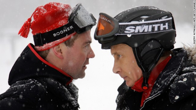 Russian President Medvedev and Prime Minister Putin ski together in Krasnaya Polyana, near the Black Sea resort of Sochi in southern Russia, on January 3, 2010.