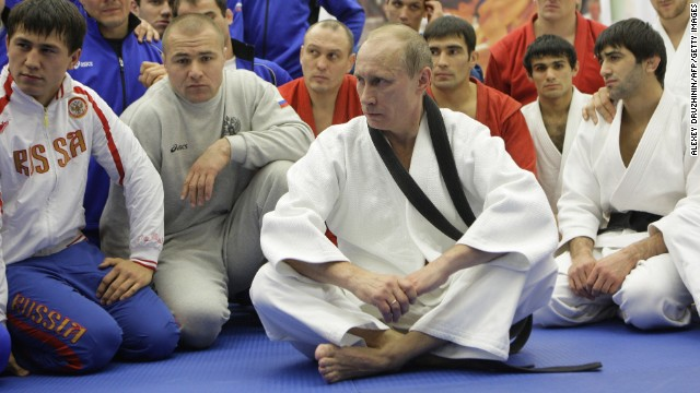Putin takes part in a judo training session at a sports complex in St. Petersburg, on December 22, 2010. The Russian leader holds a black belt in judo.