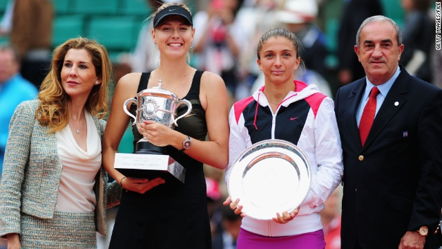 Seles was back at Roland Garros in 2012, when she presented the winner's trophy to Maria Sharapova after the Russian defeated Sara Errani of Italy.