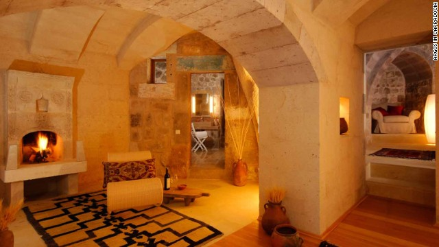 The 53-guest room hilltop Argos hotel complex is built into a series of caves, underground tunnels and other ancient structures.