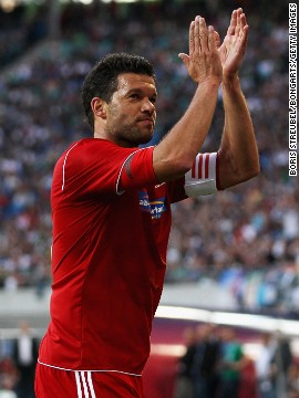 A capacity 44,000 crowd attended the game between a World XI and a Germany XI to salute Ballack's career which saw him play for Kaiserslautern, Bayer Leverkusen and Bayern Munich in Germany, and Chelsea in England.