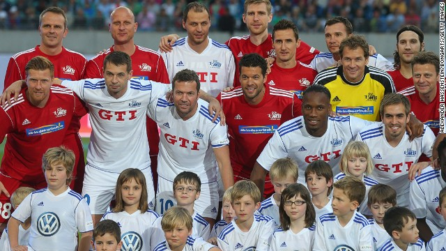 A host of stars turned out for Ballack's match, who became emotional when he left the field in the 83rd minute as Frank Sinatra's 'My Way' rang round the stadium.