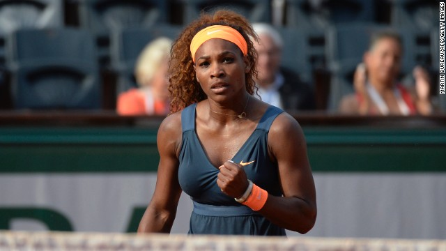 Serena Williams of the United States reacts after a point against Italy's Sara Errani during their French Open semifinal match on Thursday, June 6. Williams beat Errani 6-0, 6-1.