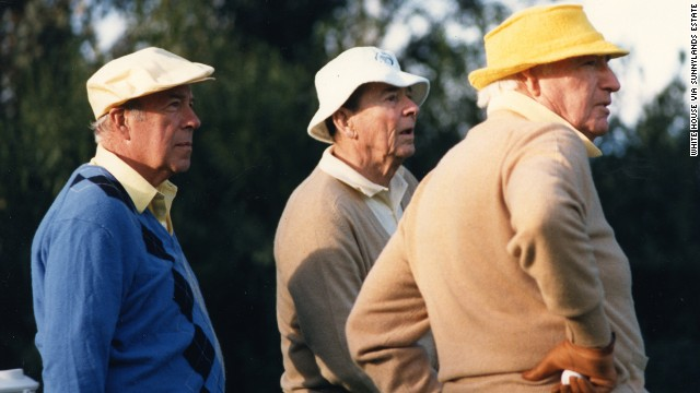 From left: Secretary of State George Shultz, President Ronald Reagan and Walter Annenberg on the golf course at the estate in this undated photo.