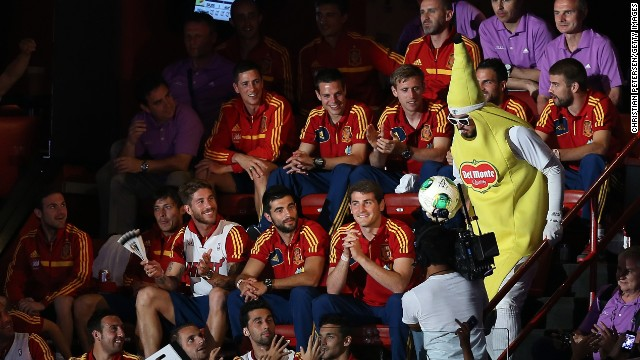 Members of Spain's national soccer team sit in the stands during Game 1 of the NBA Finals.