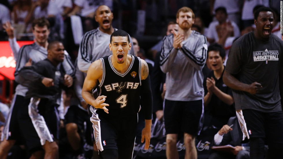 Danny Green of the San Antonio Spurs celebrates a three-point basket against the Miami Heat during Game 1 of the 2013 NBA Finals in Miami on Thursday, June 6. The Spurs defeated the Heat 92-88.