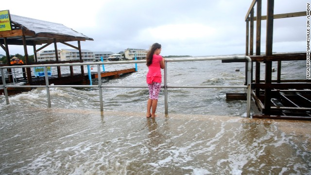 Madison Slaughter, 8, watches as Tropical Storm Andrea makes landfall in Cedar Key on June 6.