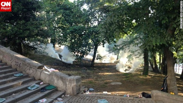 An <a href='http://ireport.cnn.com/docs/DOC-982570'>iReporter </a>who wished to remain anonymous sent in this image of smoke or tear gas canisters in a park in Istanbul Saturday.