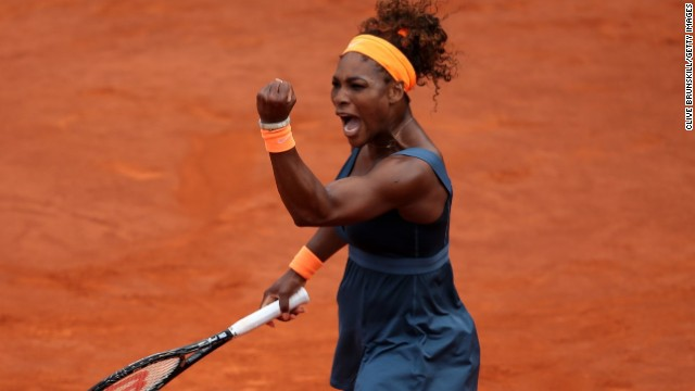 Serena Williams was in determined mood as she closed on her second French Open title and 16th grand slam title.