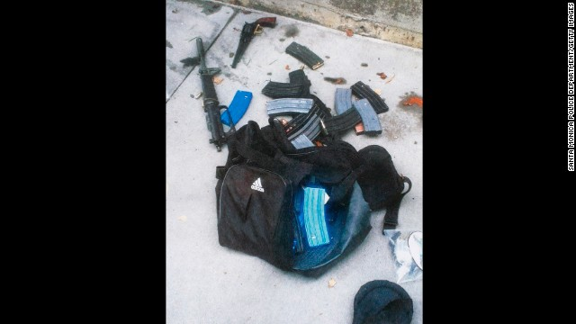 The Santa Monica police released this photo showing ammunition, magazines and guns believed to have been dropped by the gunman.
