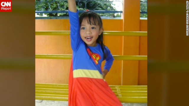 Four-year-old Anthea Ballais of Tacloban, Philippines, is <a href='http://ireport.cnn.com/docs/DOC-979832'>seen here</a> imagining herself soaring through the air as Supergirl.