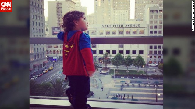"Keren Espinoza shot <a href='http://ireport.cnn.com/docs/DOC-978667'>this photo</a> of her then 19-month-old son, Jaden, standing on the seventh floor of Macy's in San Francisco last year. The Superman shirt and cape is one of her favorite outfits to put on him. ""I love to see him run and swing at the park; he looks like his cape really makes him fly."""