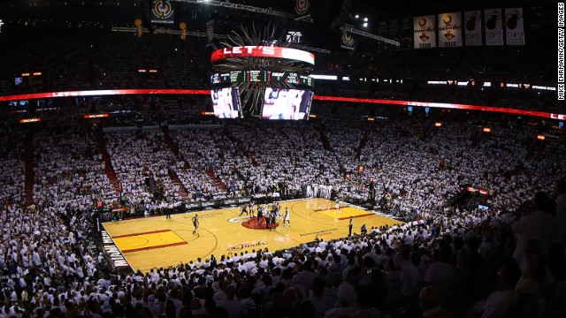 It's a packed-in crowd at Game 2 of the 2013 NBA finals at American Airlines Arena in Miami.