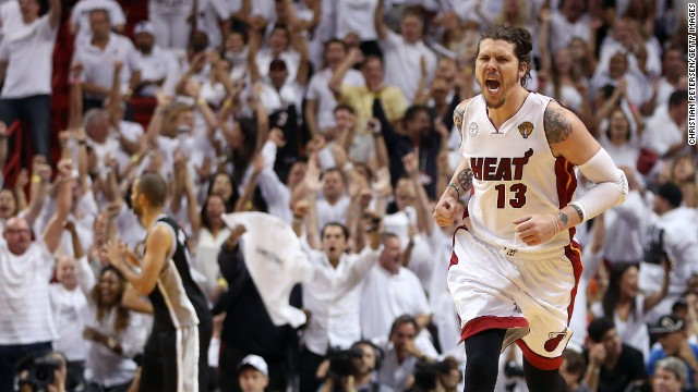 Mike Miller of the Miami Heat reacts after making a three-pointer in the fourth quarter against the San Antonio Spurs during Game 2 of the 2013 NBA Finals on Sunday, June 9, in Miami. The Heat defeated the Spurs 103-84 to tie the series 1-1. See photos from Game 1.