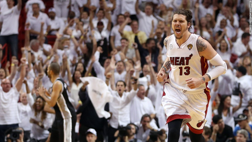 Mike Miller of the Miami Heat reacts after making a three-pointer in the fourth quarter against the San Antonio Spurs during Game 2 of the 2013 NBA Finals on Sunday, June 9, in Miami. The Heat defeated the Spurs 103-84 to tie the series 1-1. <a href='http://www.cnn.com/2013/06/06/us/gallery/nba-finals-game-1/index.html'>See photos from Game 1</a>.