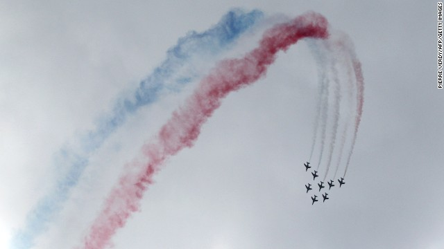 The Patrouille de France acrobatic team performs a flying display at the Paris International Airshow on June 24, 2011.