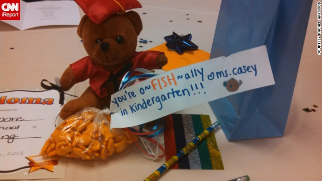 Riley Haywood received this gift bag -- teddy bear, pencil, stickers, goldfish and punny note all included -- from his preschool teacher as congratulations on his graduation.