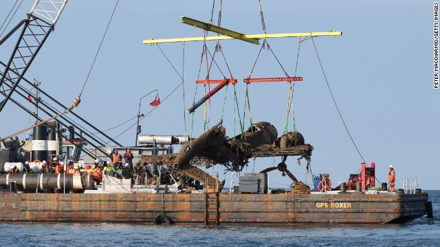 The aircraft is lifted from the English Channel off the coast of Kent.