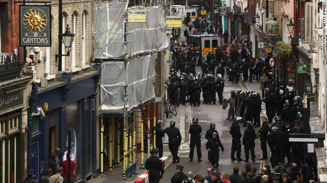 Police diffuse protesters as they occupy a police station on June 11. Demonstrators long have targeted the G8 summit to protest the economic policies of the world's leading industrial powers. The G8 includes Canada, France, Germany, Italy, Japan, Russia, the United Kingdom and the United States.