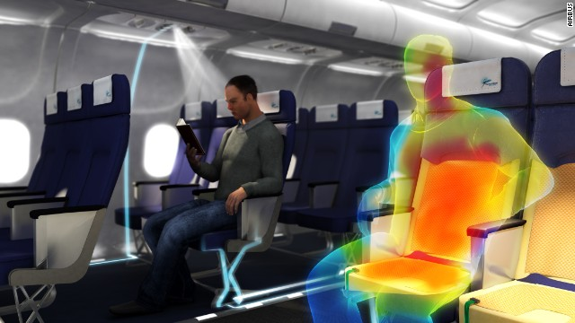 "Airbus has long toyed with the idea of implementing body-heat harnessing technology. Seats lined with a thermoelectric fabric could convert passenger temperature into electricity, which could in turn charge small electronics, or even the cabin lights. Airbus' Dale King admits the idea is a long way off, but concedes it ""has potential.""<!-- --> </br>"