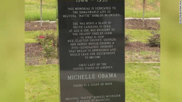 Monument to Michelle Obama's ancestor knocked down