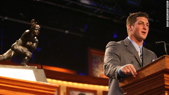Tebow speaks after he was presented with the Heisman trophy in New York on December 8, 2007. He was the first sophomore to win the Heisman.
