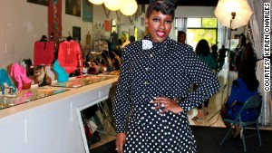 Neshanta Davis\'s two-piece polka-dot short set and matching bow tie cost less than $20.