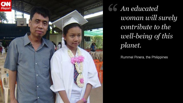 Rummel Pinera (pictured with his daughter, Beatrice) wants his daughter to gain an education and benefit from the independence it brings.