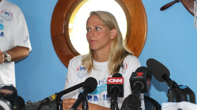 Australian swimmer Chloe McCardel holds a press conference Tuesday to discuss her swim from Cuba to Florida.