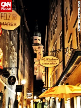 """The busy shops [and] bustling crowds of locals and tourists alike, along with the iron signs overhead, created a surreal, baroque atmosphere,"" said Marianne Sease of this small cobblestone street in Salzburg. ""So easy to fall in love with the area!"""