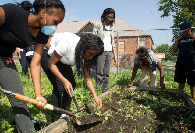 Students weed raised beds and plant vegetables and herbs they'll later use to prepare meals.