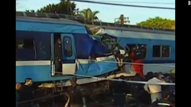 Two commuter trains collided in western suburb of Buenos Aires. CNN affiliate Canal 9 aired footage of the aftermath.
